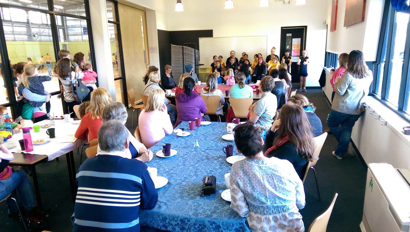 Kalida's choire performs to parents at P&F's annual 'Australia's Biggest Morning Tea'